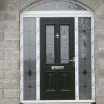 Derrycoose Rd Portadown Black palermo composite door with TG53 satinized glass.