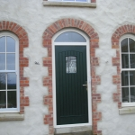 Loughbrickland Rd Banbridge Green T&G composite door with TG45 glass and arch sliding sash windows.